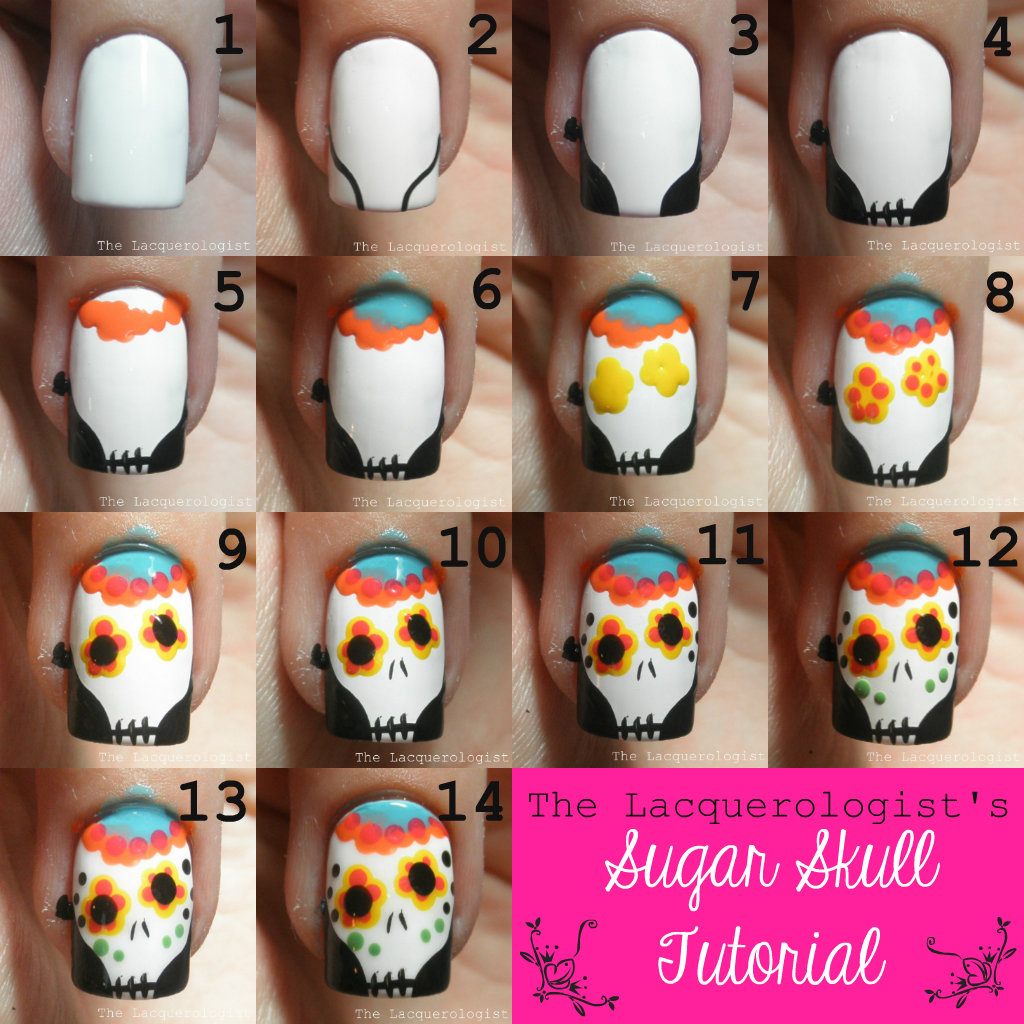 ... nail art here, without adding in any crazy techniques…perfect for a  beginner-to-intermediate tutorial! I drew inspiration from  @simplenailartdesigns on ... - Sugar Skulls (2013) TUTORIAL! • Casual Contrast