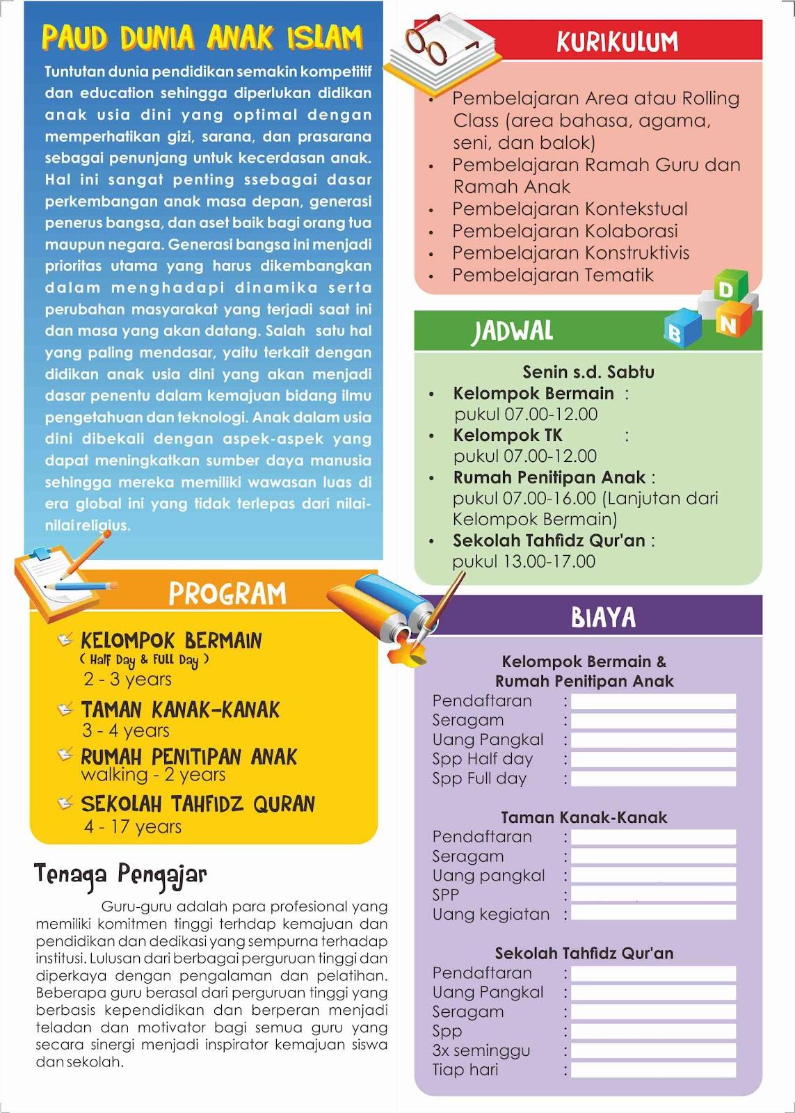 Contoh Brosur Paud Dai Desain Grafis Makassar