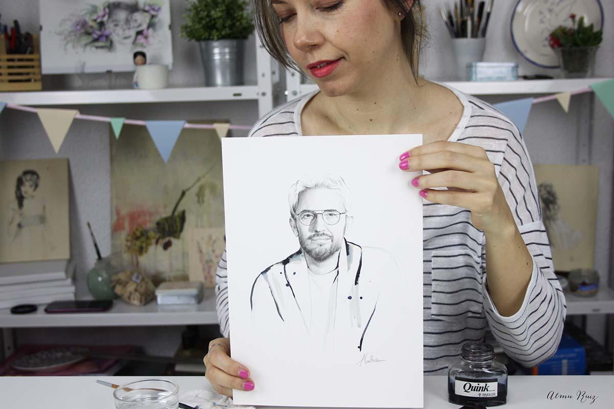 Retrato dibujado de Màxim Huerta por Almu Ruiz