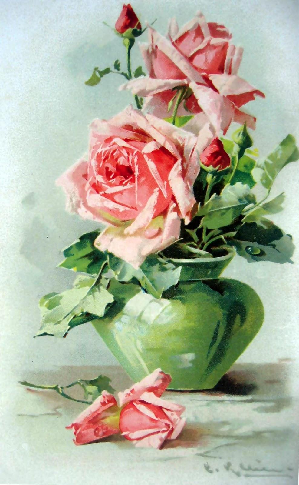 Vintage Art Roses Basket ,Vase Prints Postcard   Joy Design Studio