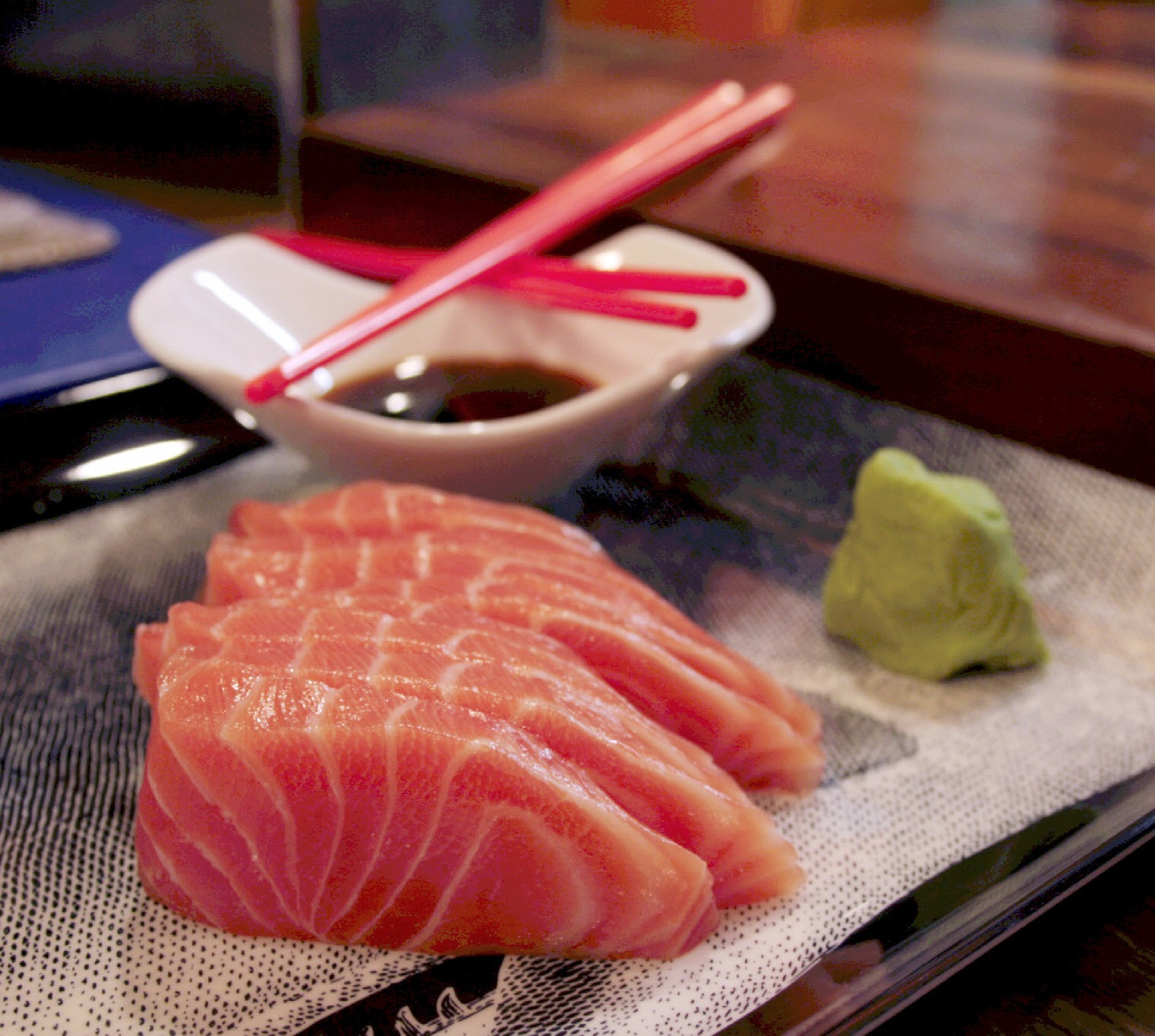 Salmon cut into fresh sashimi from Zero juice and sushi in Berkhamsted