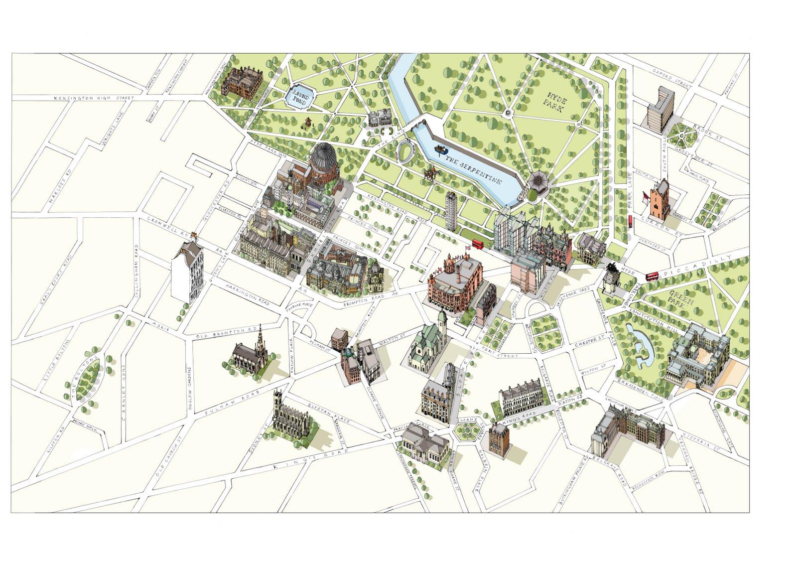 South Kensington London Map.Katherine Baxter Illustrator Illustrated Map Of London