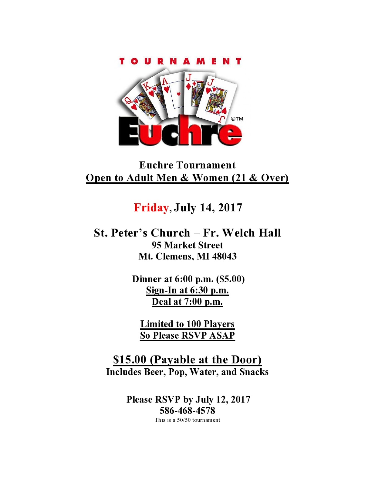 It is an image of Smart Euchre Tournament Bracket