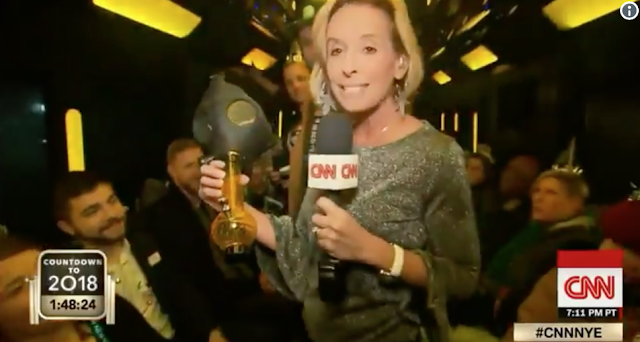 CNN Reporter Celebrates New Year's Eve and Legal Recreational Pot by Lighting Reveler's Bong
