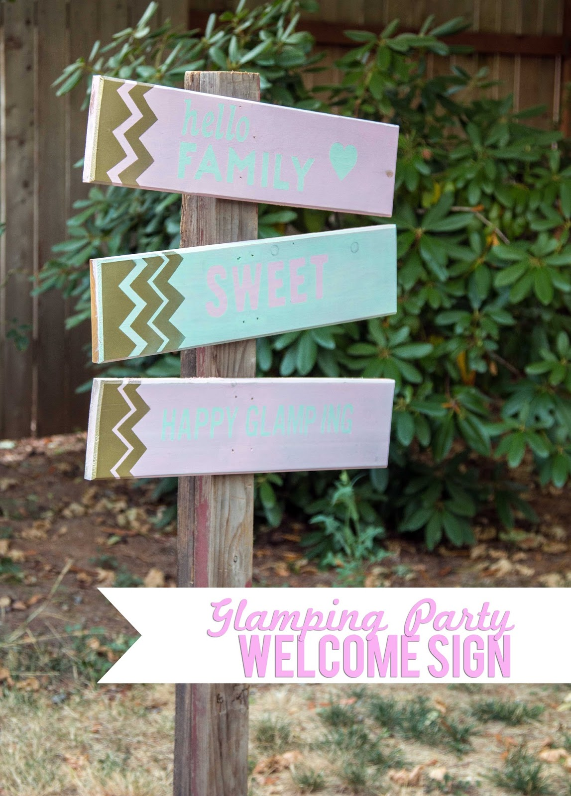 Glamping Party Welcome Sign @craftsavvy @createoften #craftwarehouse #glamping #party #diy
