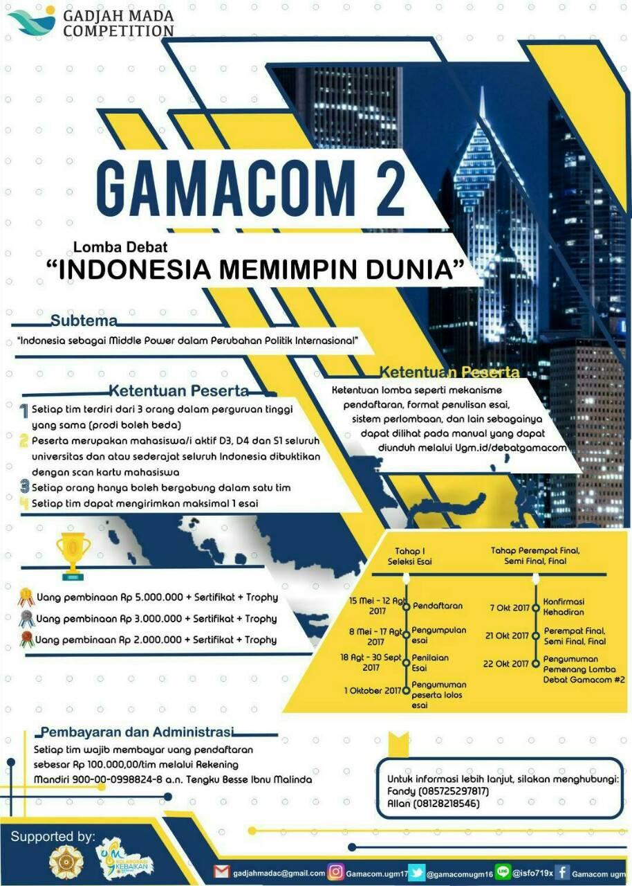 Lomba Debat Nasional Bahasa Indonesia Gamacom 2017 Di Ugm Info