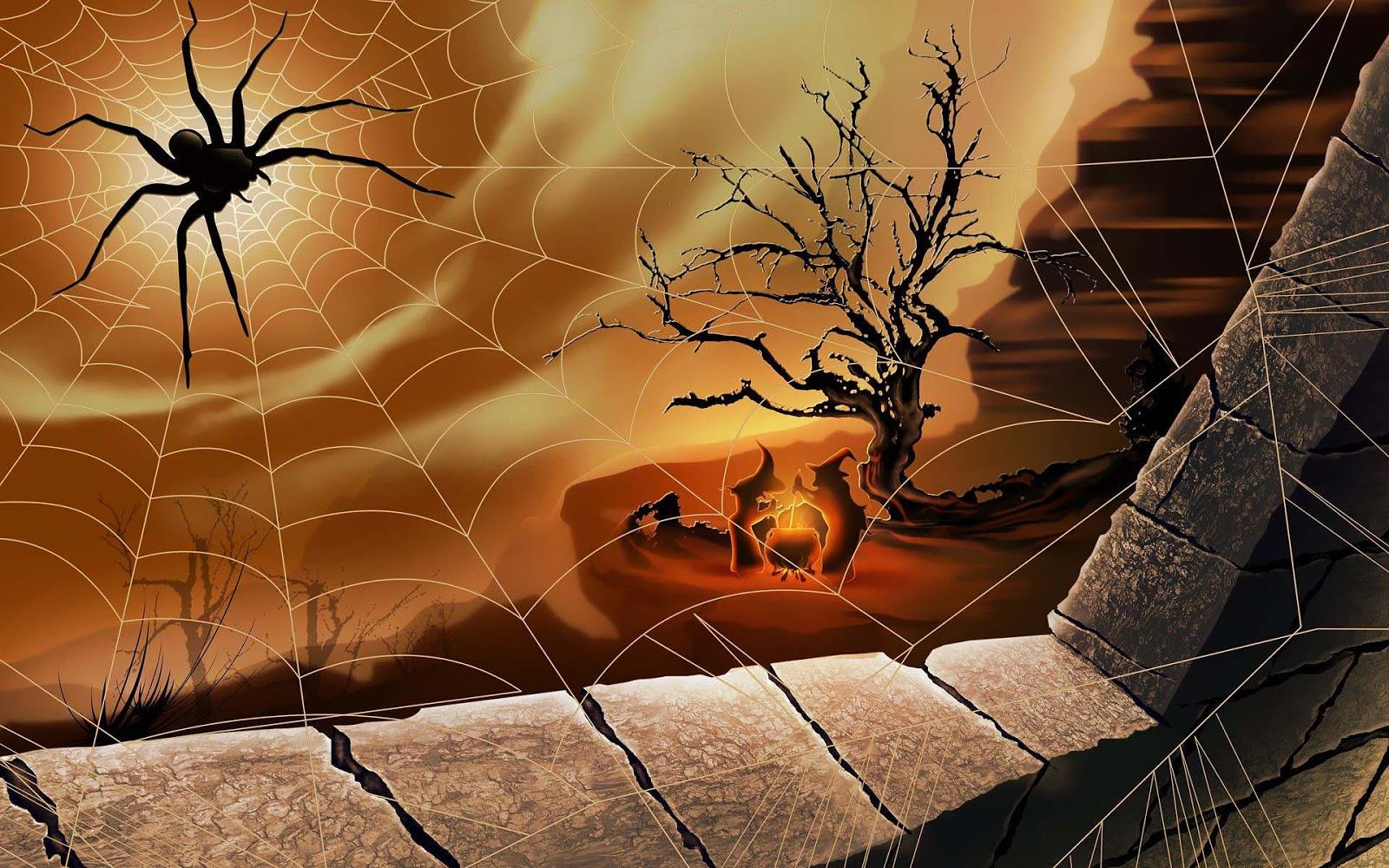 Beautiful Wallpaper Halloween Spider - 3d-halloween-wallpaper-met-een-spin-in-het-web-en-heksen-op-de-achtergrond  Graphic_355594.jpg