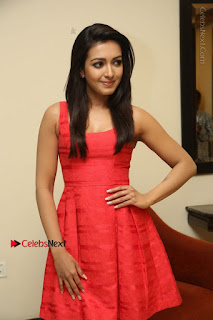 Actress Catherine Tresa Latest Pos in Red Short Dress at Intex Air Conditioners Launch  0013.jpg