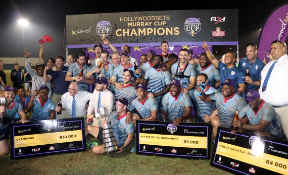 College Rovers players and staff celebrate after winning the 2018 Hollywoodbets Murray Cup.