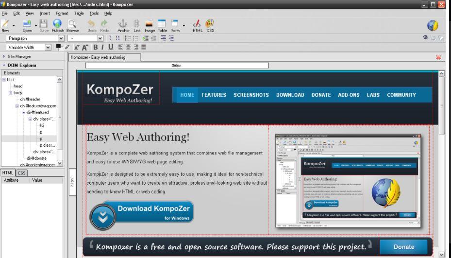 Kompozer web page editing software