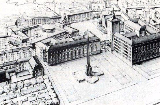 1947 год. Один из послевоенных проектов комплекса Городской площади (в будущем поделенной между площадями Латышских стрелков и Ратушной). В частности, комплекс включал в себя помещения городской управы и Государственной библиотеки.