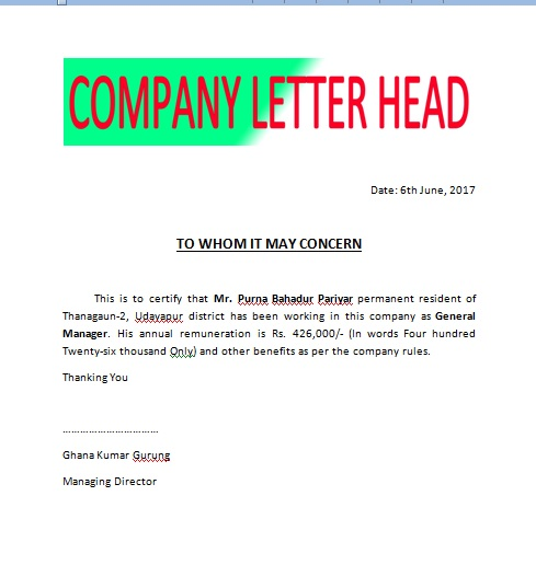 format of salary certificate letter – Sample Salary Certificate Letter