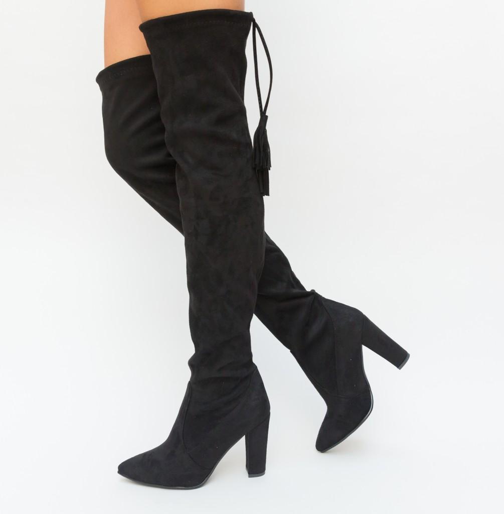 Cizme inalte peste genunchi Negre cu toc gros din piele intoarsa