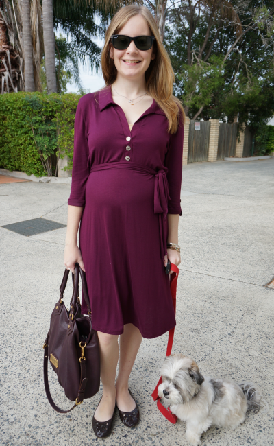 Pink Blush maternity Burgundy Button Sash Maternity Dress Second Trimester