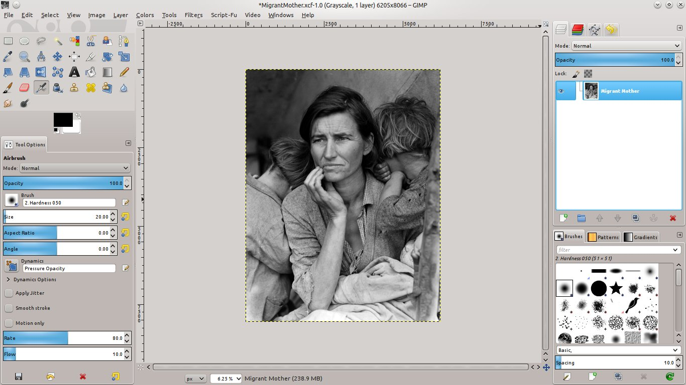 Use the gimp to create color photos from black and white photos