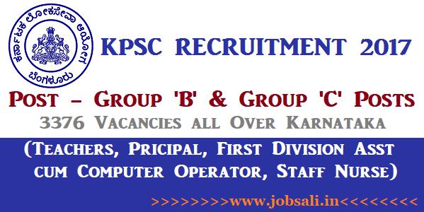 KPSC Notification, Govt Teaching jobs in Karnataka, Staff Nurse jobs in Karnataka