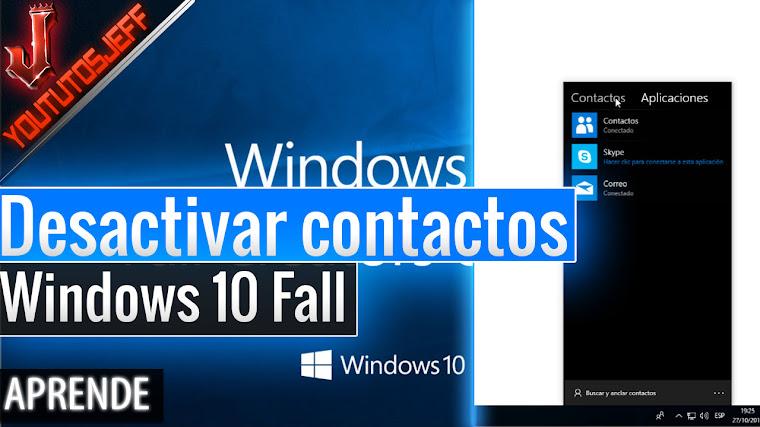 Como desactivar Contactos en la barra de tareas Windows 10 Fall Creators