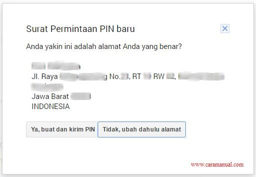 Surat Permintaan PIN Baru