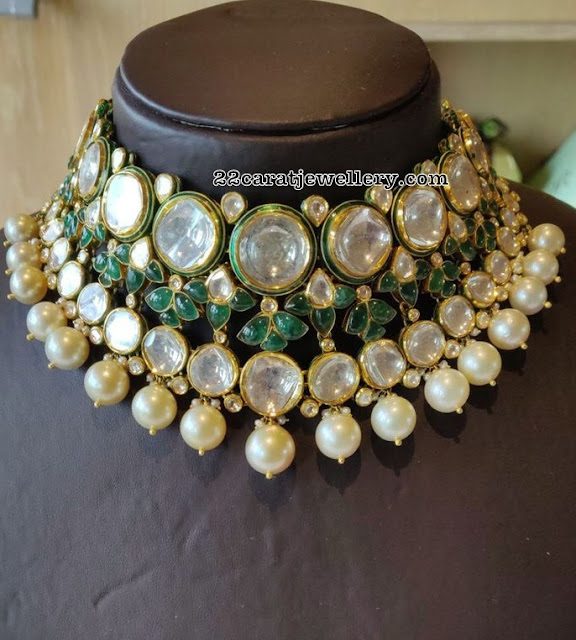 Big Polki Emerald Choker
