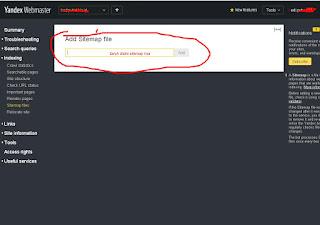 tambah sitemap di yandex