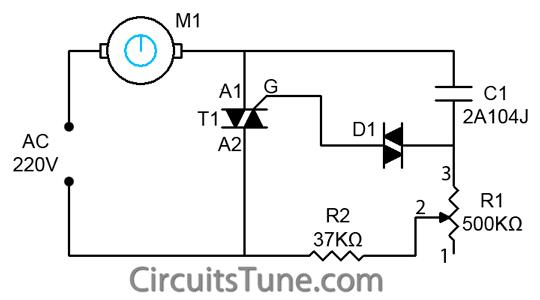 Ceiling Fan Regulator- Motor Speed Control Circuit Diagram