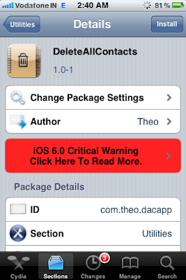 cydia delete all contacts iphone