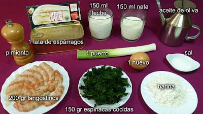 Espárragos rellenos de langostinos y espinacas. Ingredientes