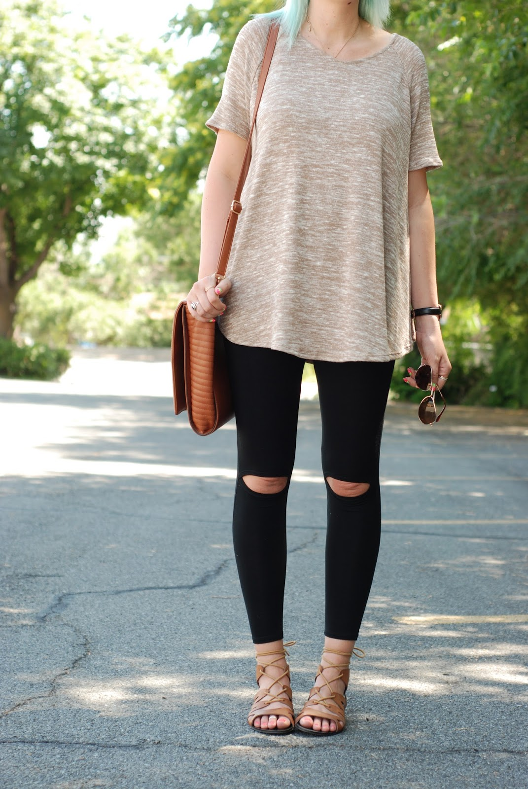 Ripped Knee Leggings, Sidney Clark Designs, Utah Fashion Blogger