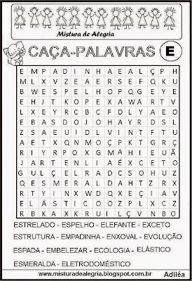 Caça-palavras alfabéticas-letra E