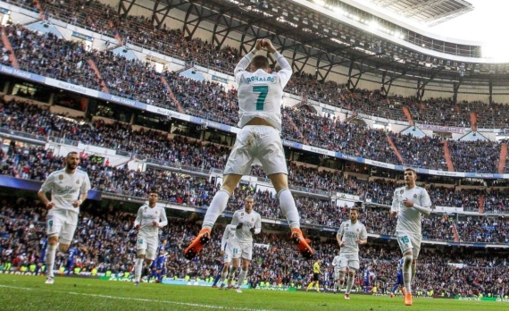 Cristiano Ronaldo celebrating another goal for Real Madrid at the Bernabeu