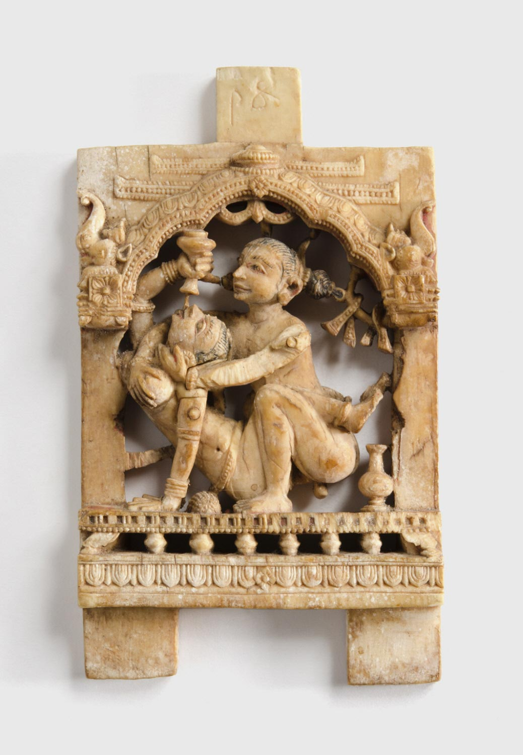 Ivory Plaque with Lovemaking Couple - Circa 15th-16th Century