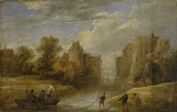 Landscape with Fishermen by David Teniers II - Landscape Paintings from Hermitage Museum
