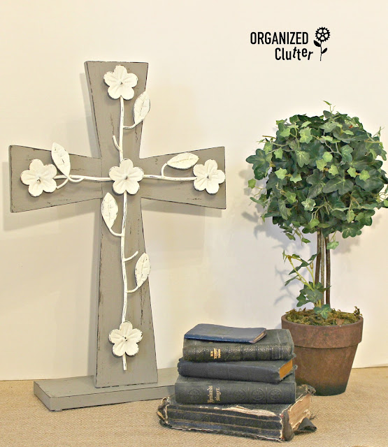 Upcycled Thrift Shop Wood Cross to Easter Decor organizedclutter.net