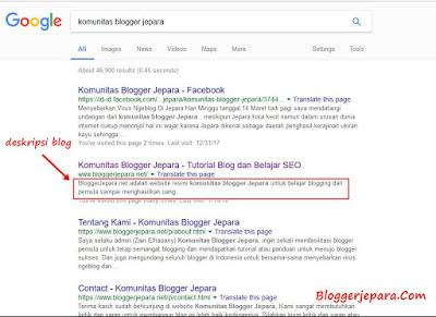 cara mengaktifkan deskripsi penelusuran blog