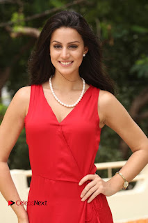 Actress Larissa Bonesi Pictures in Red Long Dress at Thikka Interview  0135.JPG