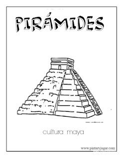 dibujos de Pirámides cultura maya para colorear