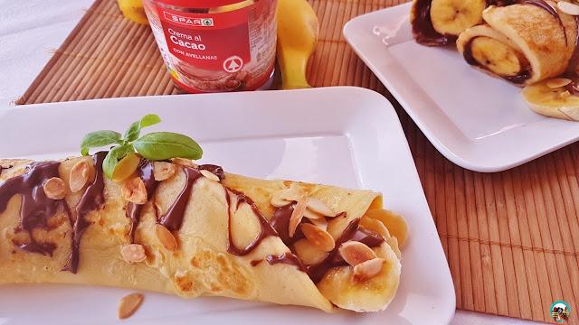 Crepes con plátano y crema de cacao