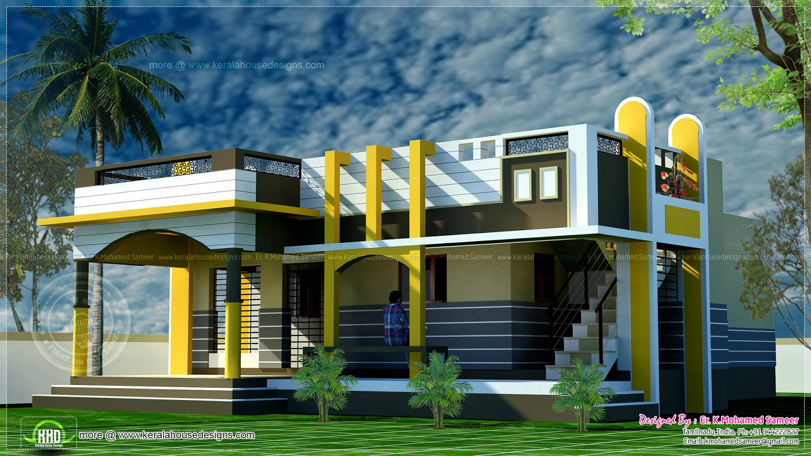 Small house design contemporary style kerala home design for Small bungalow house plans in india
