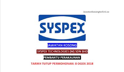 Jawatan Kosong Syspex Technologies (M) Sdn Bhd 2018