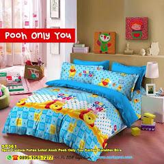 Sprei Custom Katun Lokal Anak Pooh Only You Kartun Karakter Biru