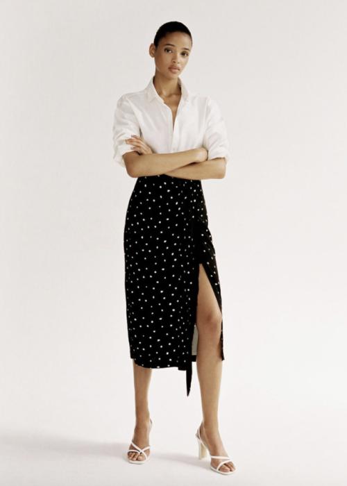 Polka-Dot Slit Skirt