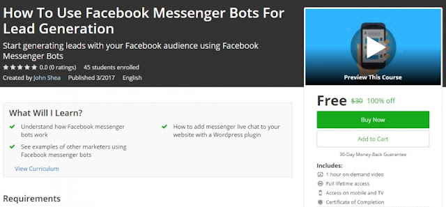 [100% Off] How To Use Facebook Messenger Bots For Lead Generation| Worth 30$