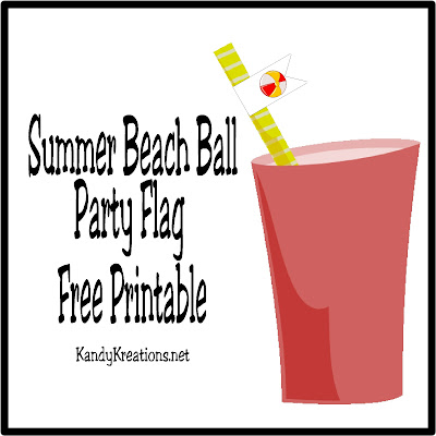 Bring a little summer fun to your beach party or picnic with these whimsical beach ball party flag printables.  These printables are easy to add to any straw and add a touch of summer to any of your favorite drinks.