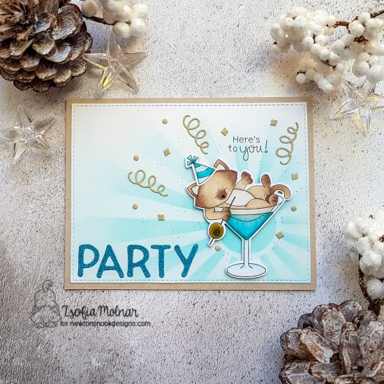 Cat with cocktail Party Card by Zsofia Molnar | Newton Celebrates Stamp Set, Essential Alphabet Die Set and SunScape Stencil by Newton's Nook Designs #newtonsnook #handmade