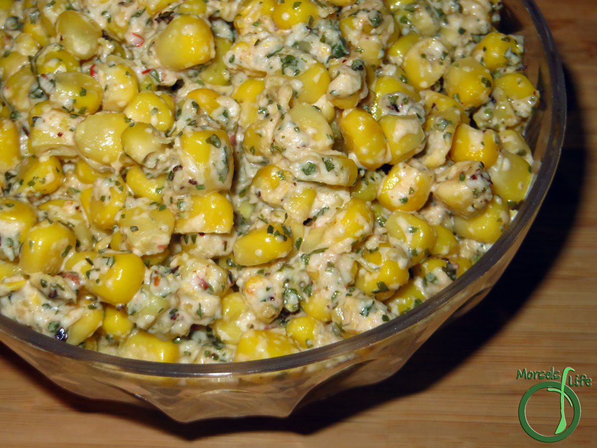 Morsels of Life - Mexican Corn Salad - A Mexican corn salad full of the yumminess of Elote - cotija cheese and chipotle mayo combined with sweet corn.
