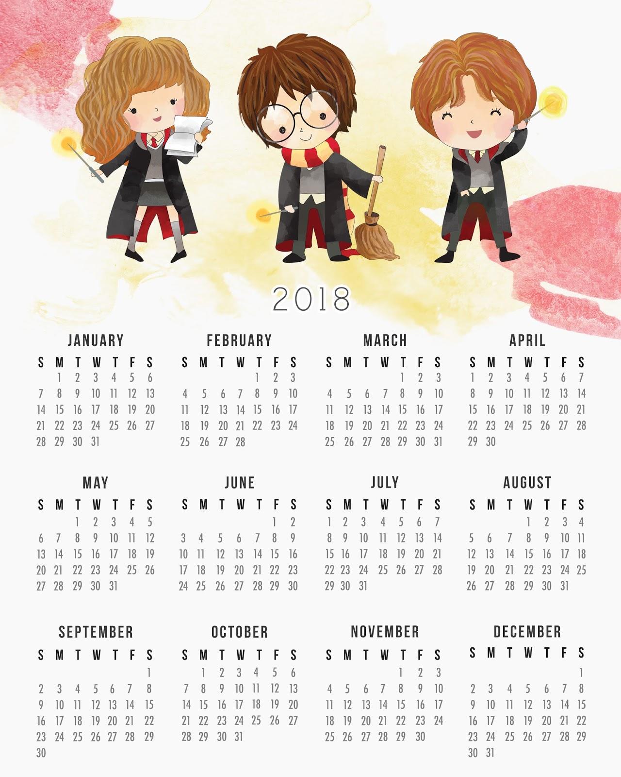 Harry Potter Calendario Para Imprimir Gratis