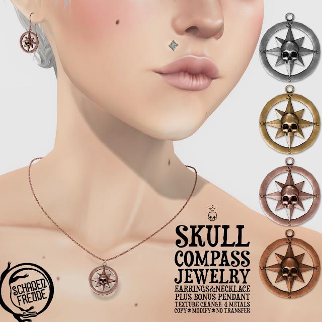Schadenfreude Skull Compass Jewelry