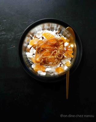 crème de marron , clémentines , meringue , fraîcheur