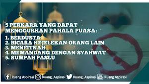 Jangan Lakukan 5 Perkara Ini di Bulan Ramadhan Agar Ibadah Puasa Tidak Sia-Sia