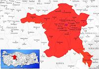 Ankara ili ve ilçeleriyle birlikte çevre il ve ilçeleri de gösteren harita